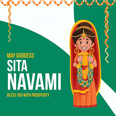 Banner template Sita Navami may goddess bless you with prosperity
