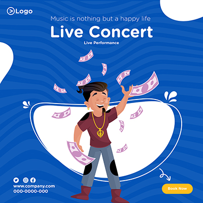 Music is nothing but a happy life live concert banner design