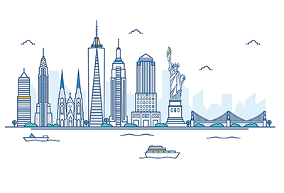 New York vector skyline on white background
