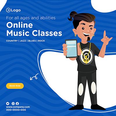 Online music classes banner design template