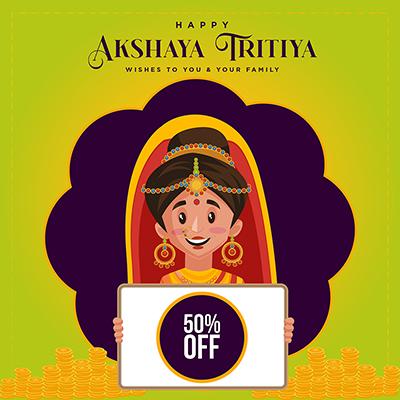 Sale offer on akshaya tritiya festival with a banner design