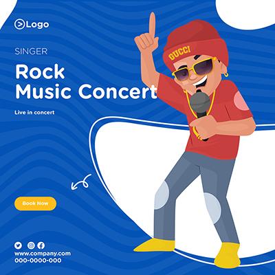 Singer on rock music concert banner design