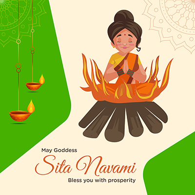 Sita Navami may goddess bless you with prosperity banner template