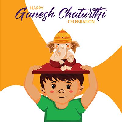 Social media banner of happy ganesh chaturthi celebration