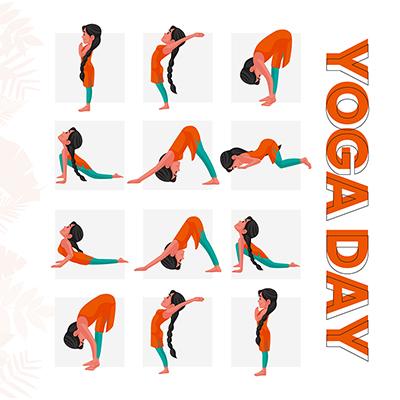 Social media flat banner for yoga day