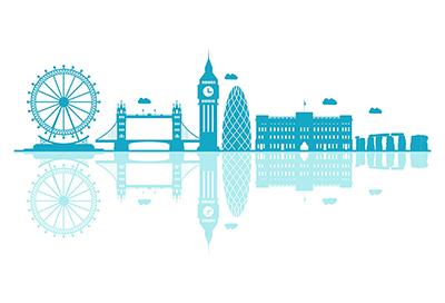 UK vector skyline on a white background