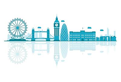 UK vector skyline on white background