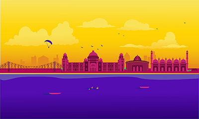 West Bengal city vector skyline on colored background