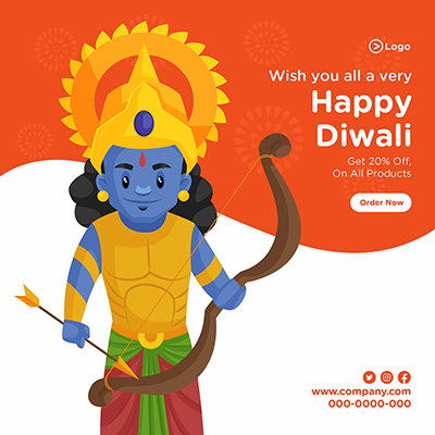 Wish you a very happy Diwali banner design template