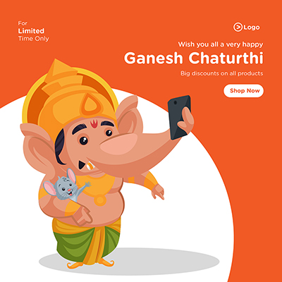 Wish you all a very happy ganesh chaturthi banner design