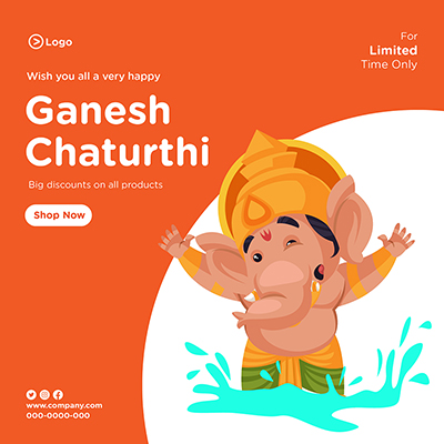Wish you all very happy ganesh chaturthi banner template