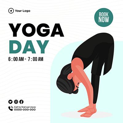 Yoga day banner design illustration