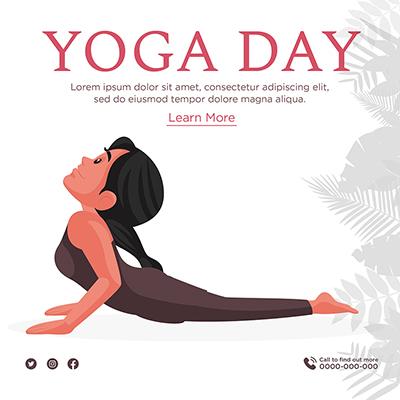 Yoga day illustration banner template