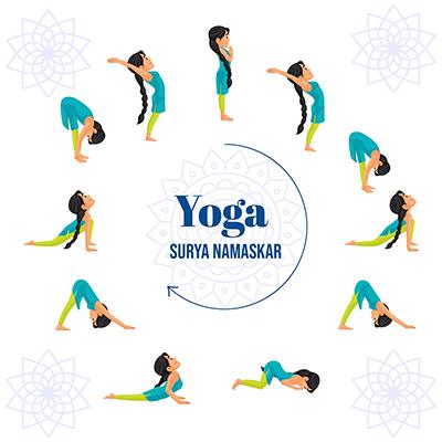 Yoga surya namaskar banner design