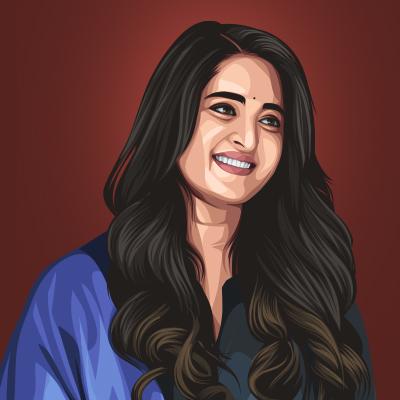 Anushka Shetty Indian Film Actress Vector Portrait Illustration