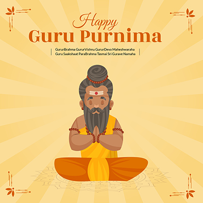 Banner of happy guru purnima traditional day