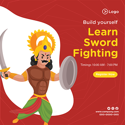 Build yourself learn sword fighting banner design