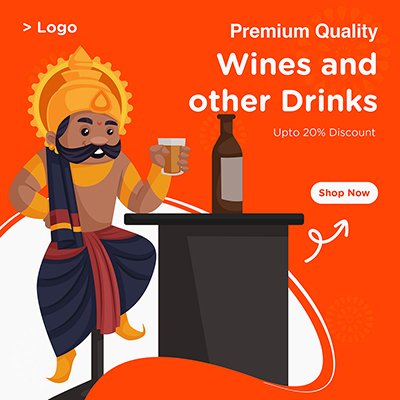 Banner template with wines and other drinks