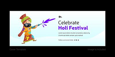 Celebrate Holi festival facebook cover page template