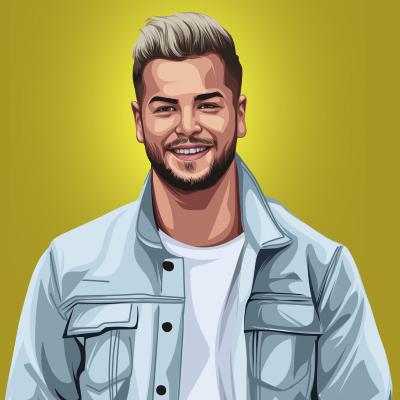 Chris Hughes English Model, Television Personality Vector Illustration