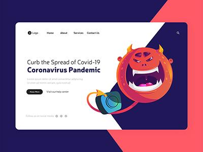 Coronavirus pandemic on landing page design