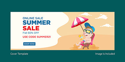 Cover page design of online summer sale