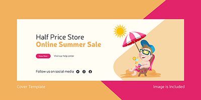Cover page of online summer sale in half price