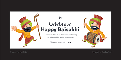 Cover page template of celebrate happy Baisakhi
