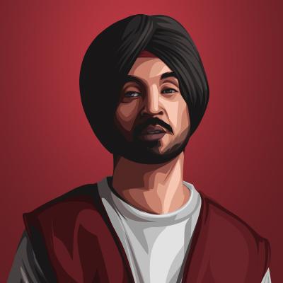 Diljit Dosanjh Indian Singer and Actor Vector Illustration