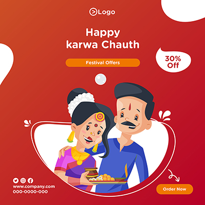 Happy karwa chauth with template banner