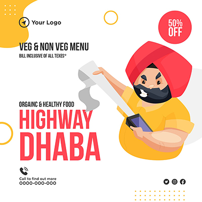 Highway dhaba organic and healthy food template banner
