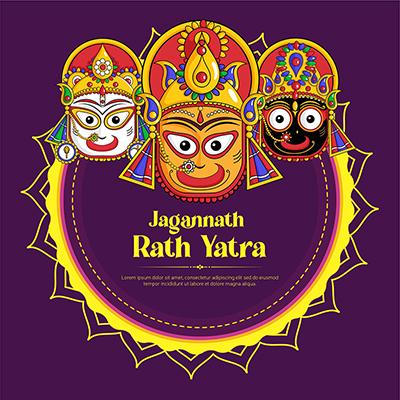 Jagannath rath yatra illustration banner template 10 small
