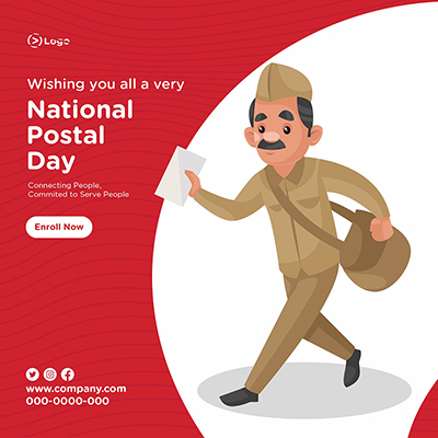 National postal day with banner design-11-small