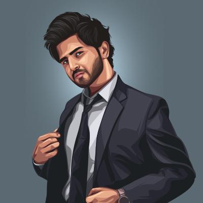 Nikk Indian Singer, Songwriter Vector Portrait Illustration