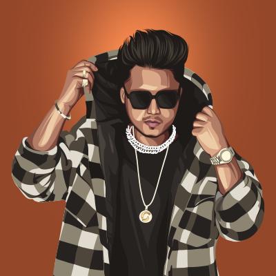 Pardhaan Indian Musical Artist Vector Portrait Illustration