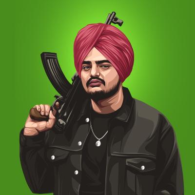 Sidhu Moose Wala Indian Singer, Lyricist & Rapper Vector Illustration