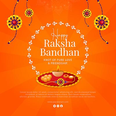 Banner for happy raksha bandhan with template