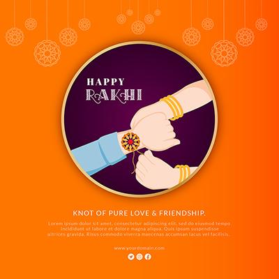 Banner template for happy raksha bandhan celebrations