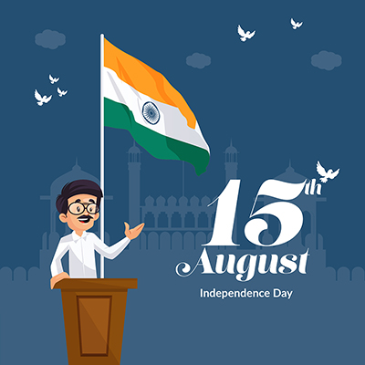 Banner template for independence day on 15 august