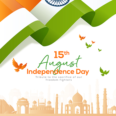 Banner template of independence day on 15 august