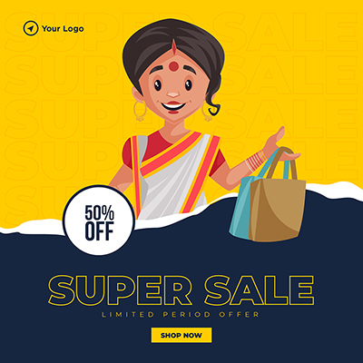 Banner template of super sale on shopping 1 small