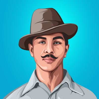 Bhagat Singh Indian Revolutionary Vector Portrait Illustration