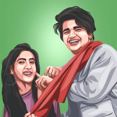 Bhavin & Sameeksha Sud Indian Actress & Musical Artist Vector Illustration