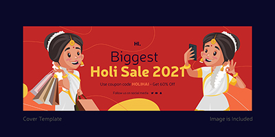 Biggest holi sale on 2021 cover page template