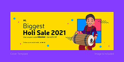 Biggest holi sale on 2021 cover template