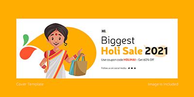 Biggest holi sale on 2021 cover template design