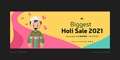 Biggest holi sale on 2021 coverpage template