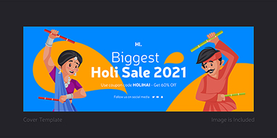 Biggest holi sale with cover design template