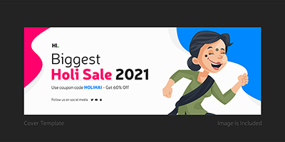 Biggest holi sale with cover page template