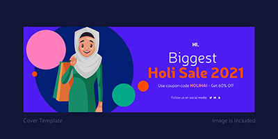 Biggest holi sale with cover template design